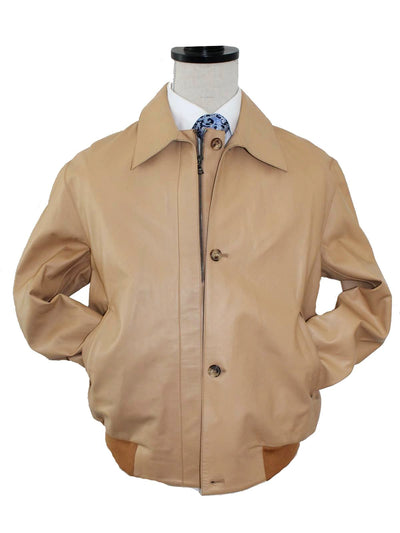 Kiton Leather Jacket Tan