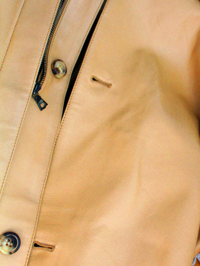 Kiton Leather Jacket Tan EUR 52 / US 42 SALE