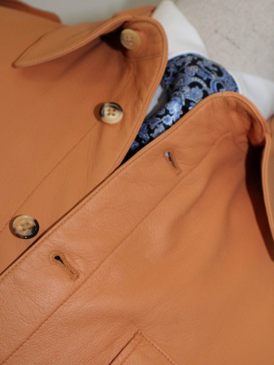 Kiton Leather Jacket Tan Coat New