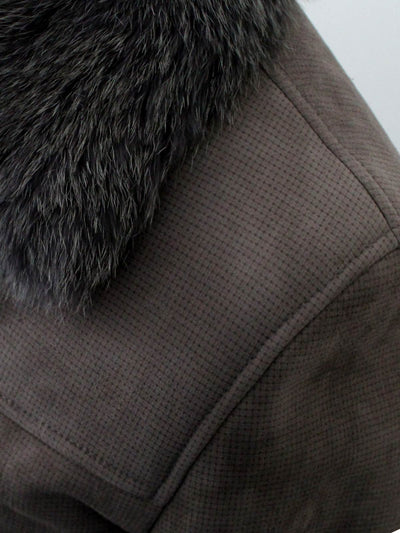 Kiton Suede Jacket With Fox Fur Collar Taupe Coat
