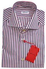 Kiton Dress Shirt White Navy Pink Stripes