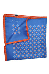 Kiton Silk Pocket Square Navy Copper Print