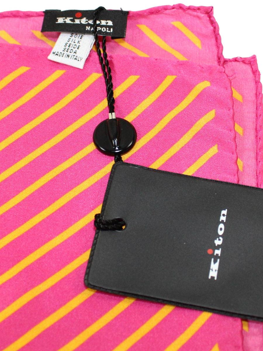 Kiton Pocket Square Pink Orange Stripes SALE