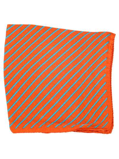 Kiton Pocket Square Red Aqua Stripes SALE