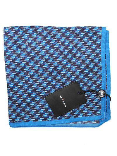 Kiton Silk Pocket Square Blue