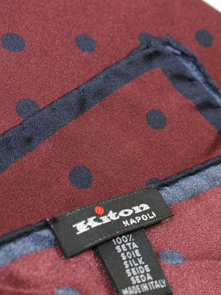 Kiton Silk Pocket Square Brown Midnight Polka Dots SALE