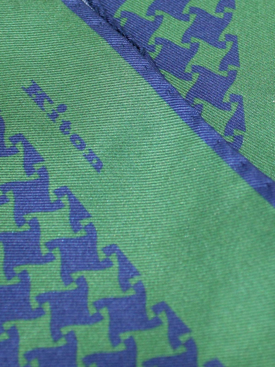 Kiton Pocket Square Green Navy Houndstooth Design SALE
