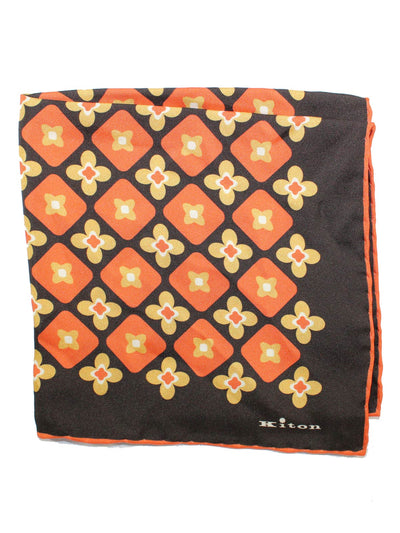 Kiton Pocket Square Black Orange SALE