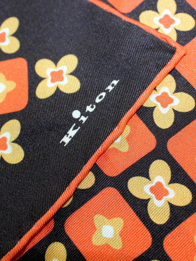 Kiton Pocket Square Black Orange