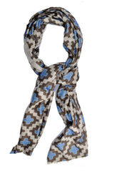 Kiton Scarf Classic Design Blue Brown White