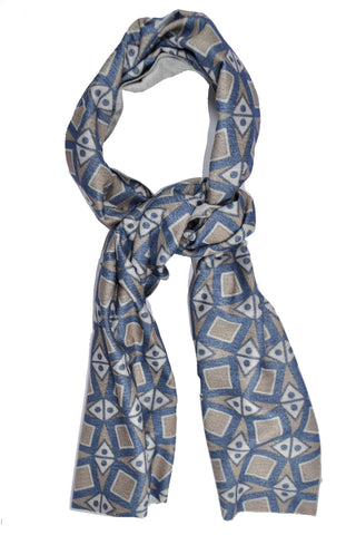 Kiton Scarf Dark Blue Taupe Design