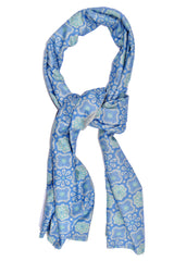 Kiton Scarf Gray Blue Mint Green Flowers