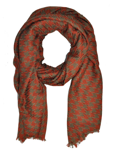 Kiton Scarf Taupe Brown Houndstooth Cashmere Silk Shawl SALE