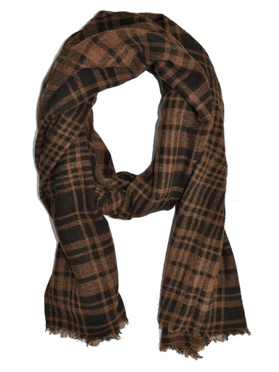 Kiton Scarf Brown Plaid