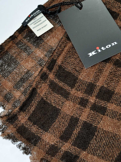Kiton Scarf Brown Plaid Stripes Cashmere Silk Shawl - FINAL SALE