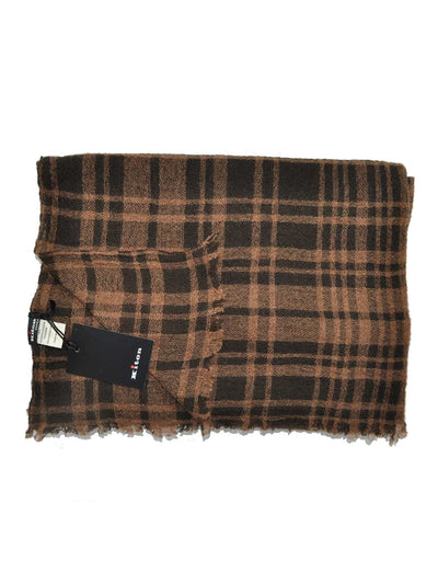Kiton Scarf Brown Plaid Stripes Cashmere Silk Shawl SALE