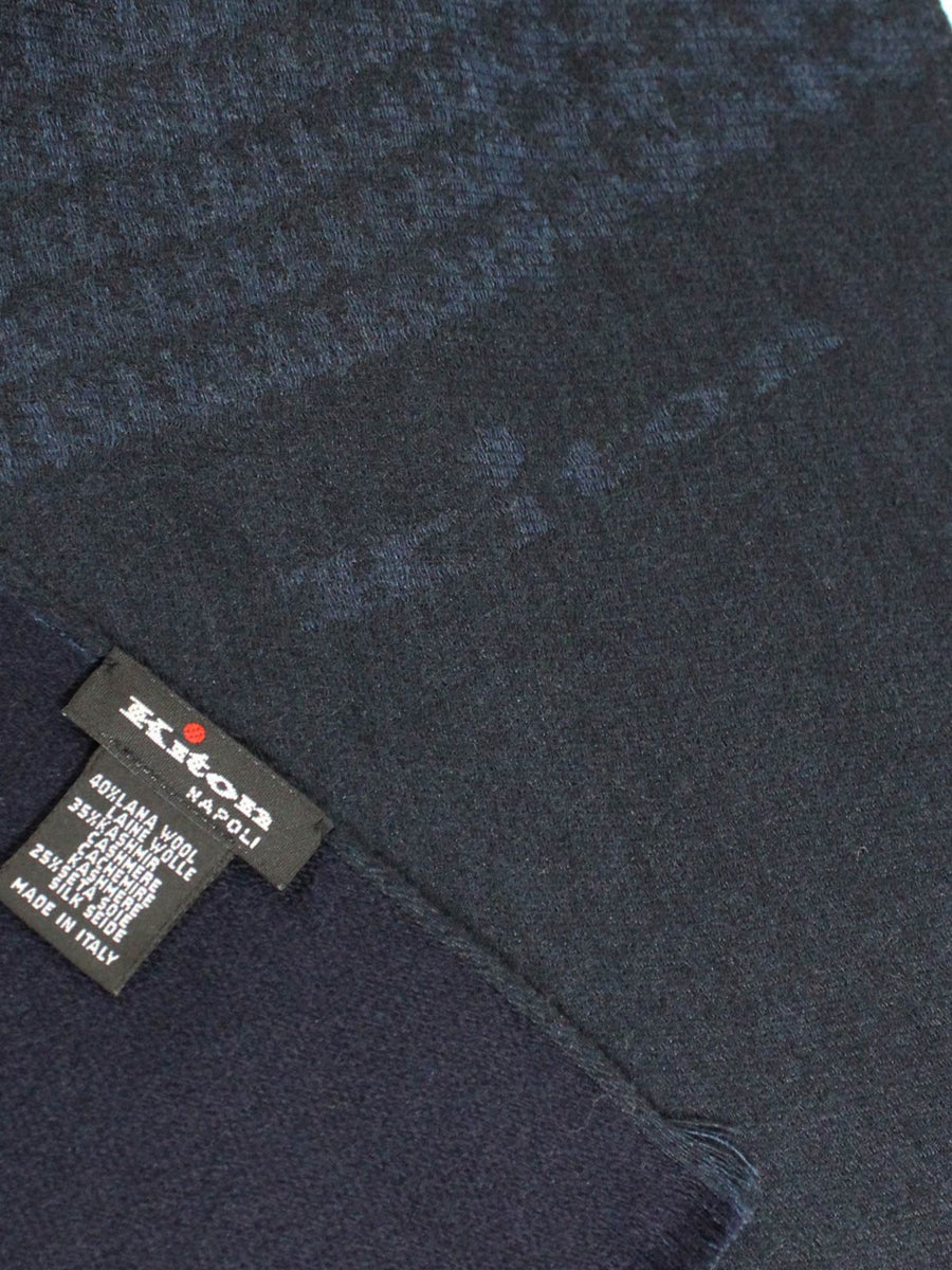 Kiton Scarf Midnight Blue Cashmere Silk Wool SALE