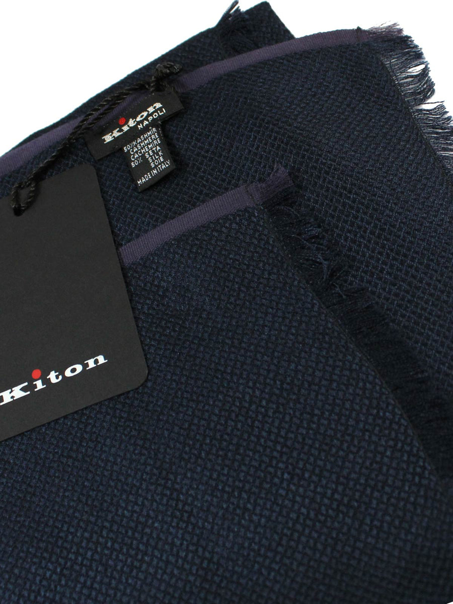 Kiton Cashmere Silk Scarf Midnight Blue SALE