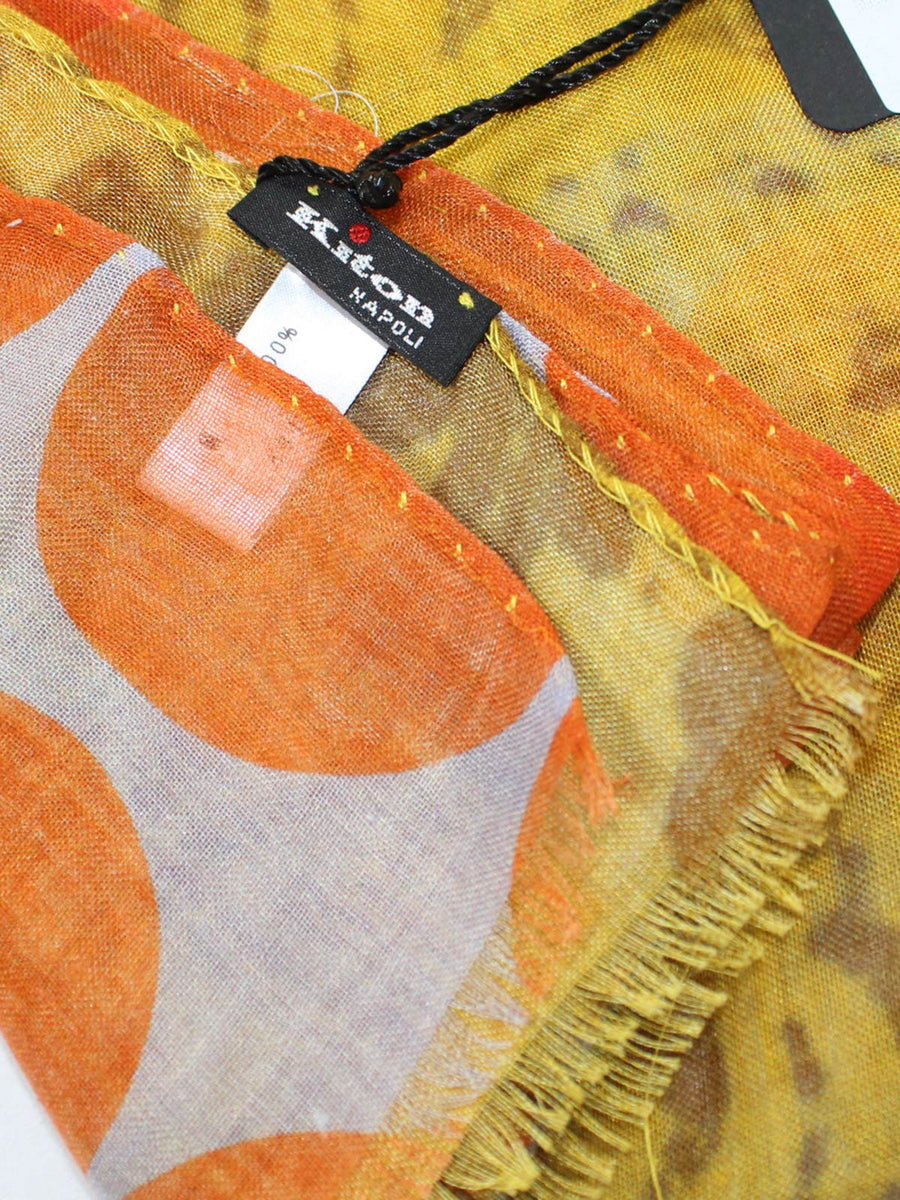 Kiton Silk Scarf Orange Mustard Dots