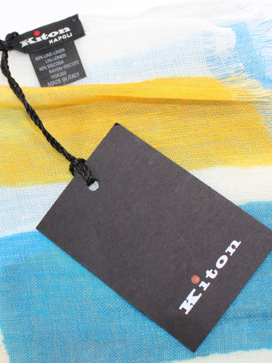 Kiton Linen Scarf White Aqua Orange Design