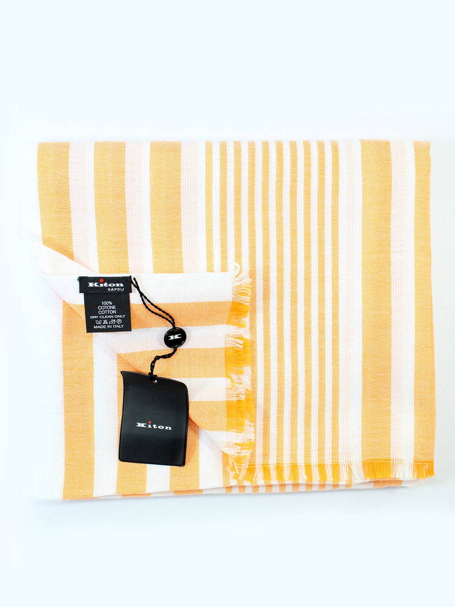Kiton Cotton Scarf White Orange Stripes - Spring/ Summer SALE