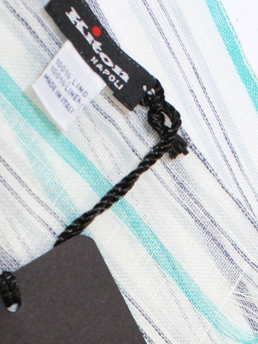 Kiton Linen Scarf White Aqua Stripes - Spring/ Summer SALE