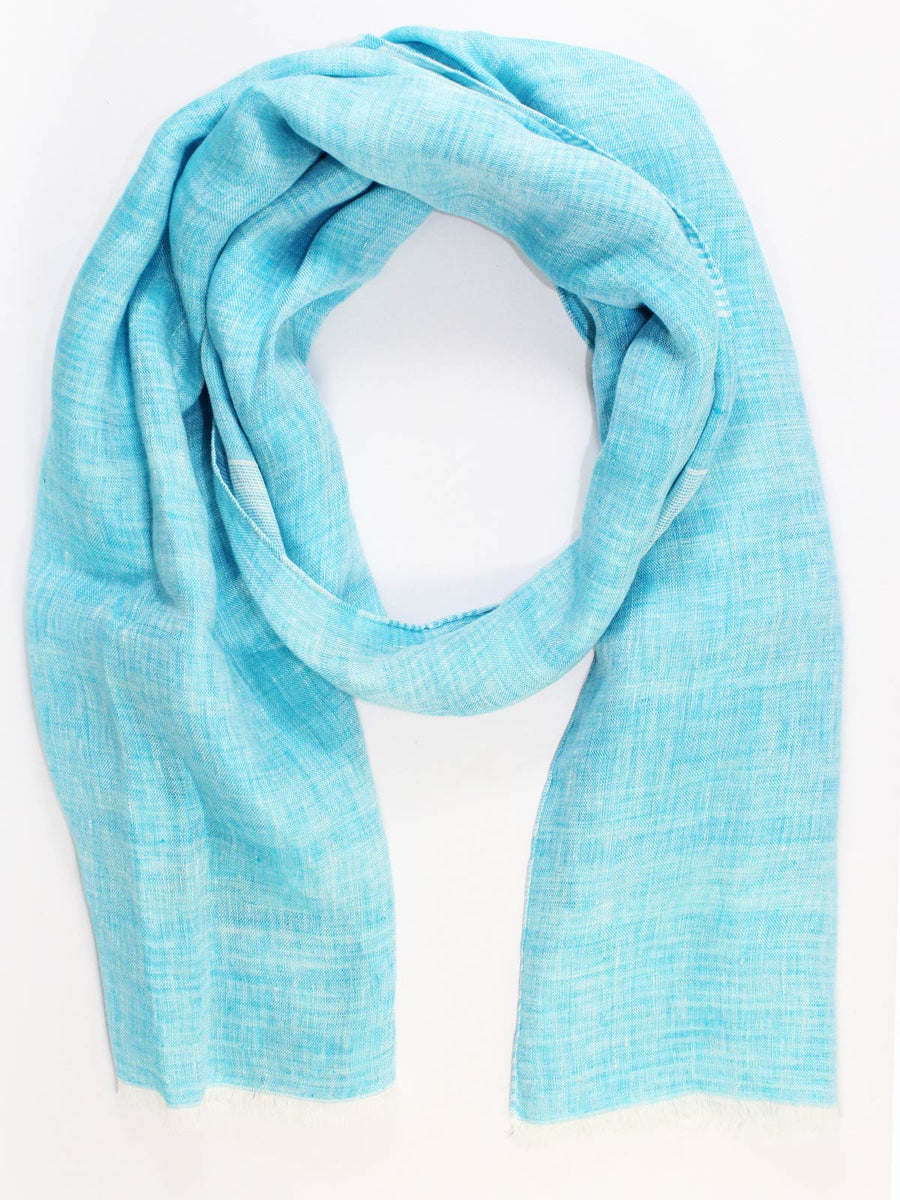 Kiton Linen Scarf Sky Blue White Stripes - Spring/ Summer SALE