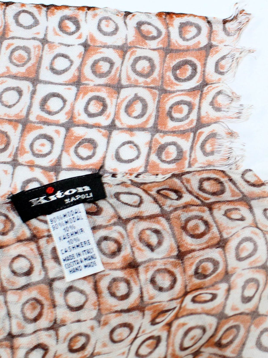 Kiton Scarf Brown White Design Cashmere - SALE