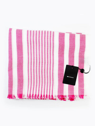 Kiton Cotton Scarf White Pink Stripes Summer Collection FINAL SALE