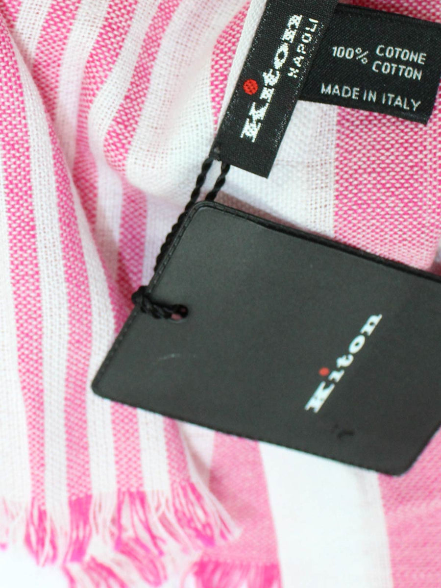 Kiton Cotton Scarf White Pink Stripes