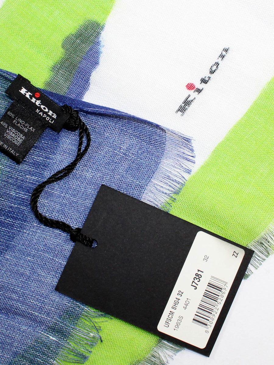 Kiton Linen Scarf White Royal Blue Lime Design - Spring/ Summer SALE