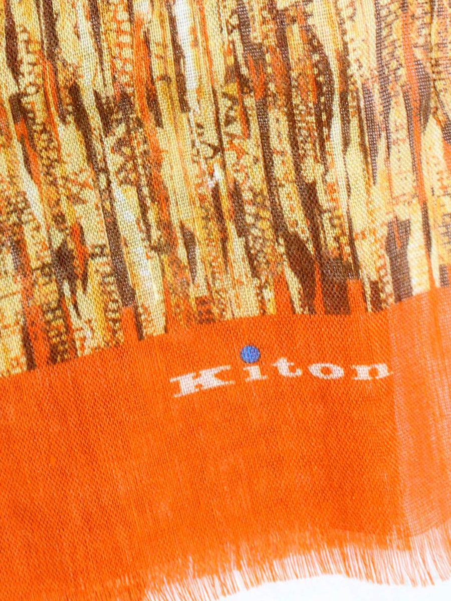 Kiton Scarf Brown Orange