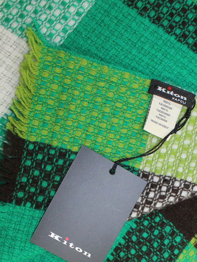 Kiton Cashmere Scarf Green Patch Luxury