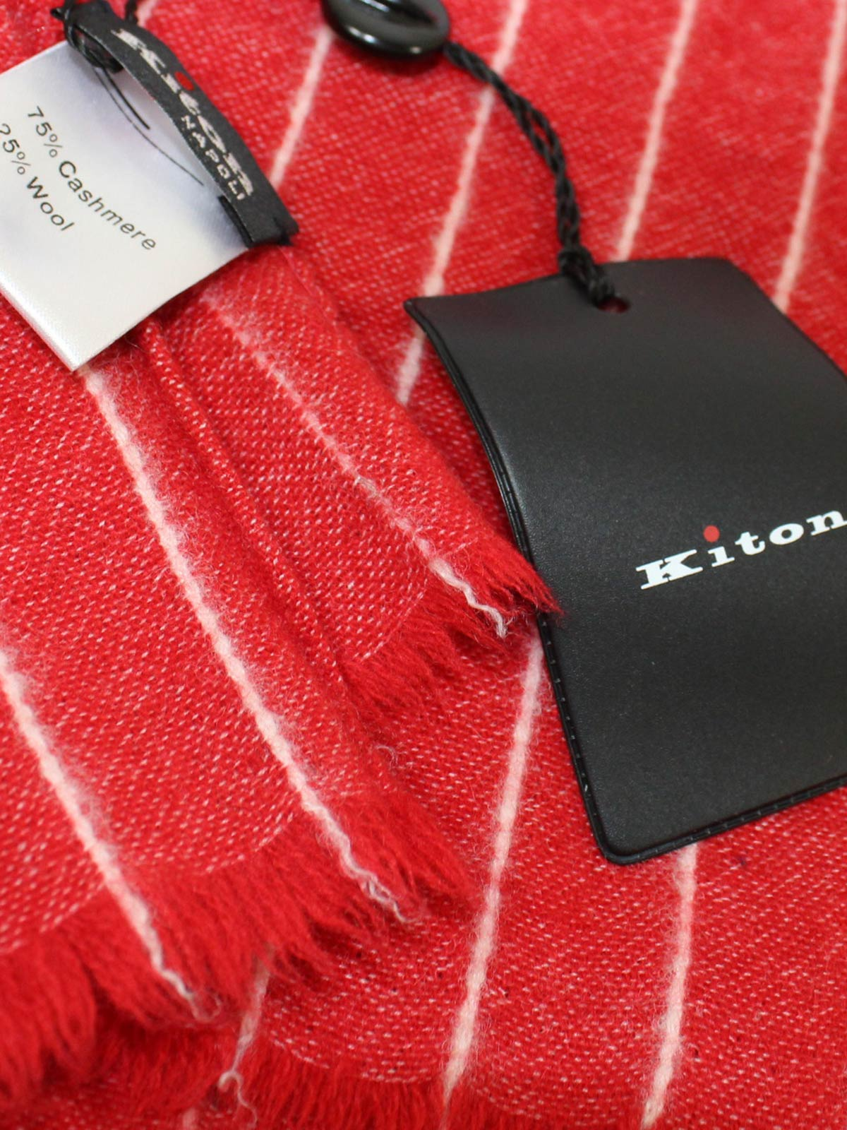 Kiton Scarf Red White Stripes Cashmere Wool FINAL SALE