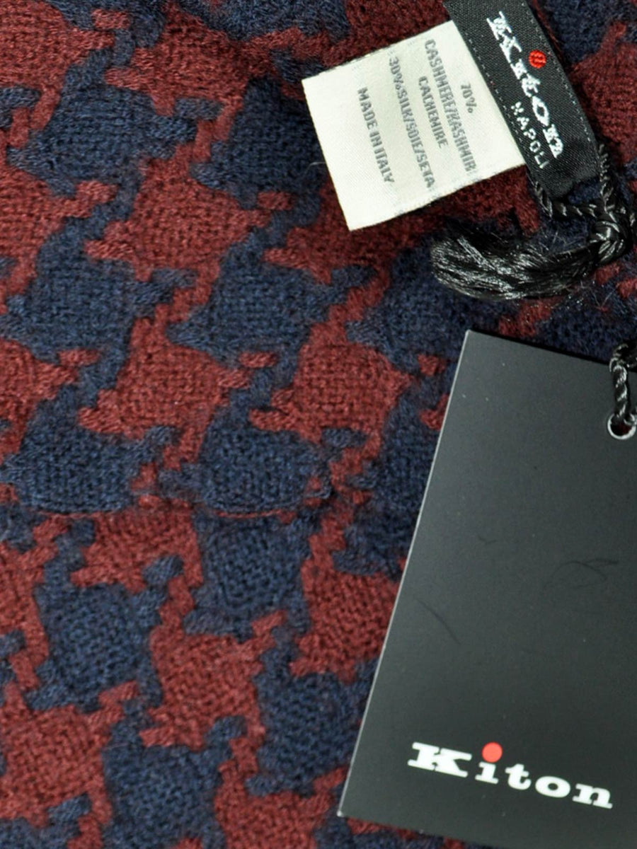 Kiton Scarf Maroon Midnight Blue