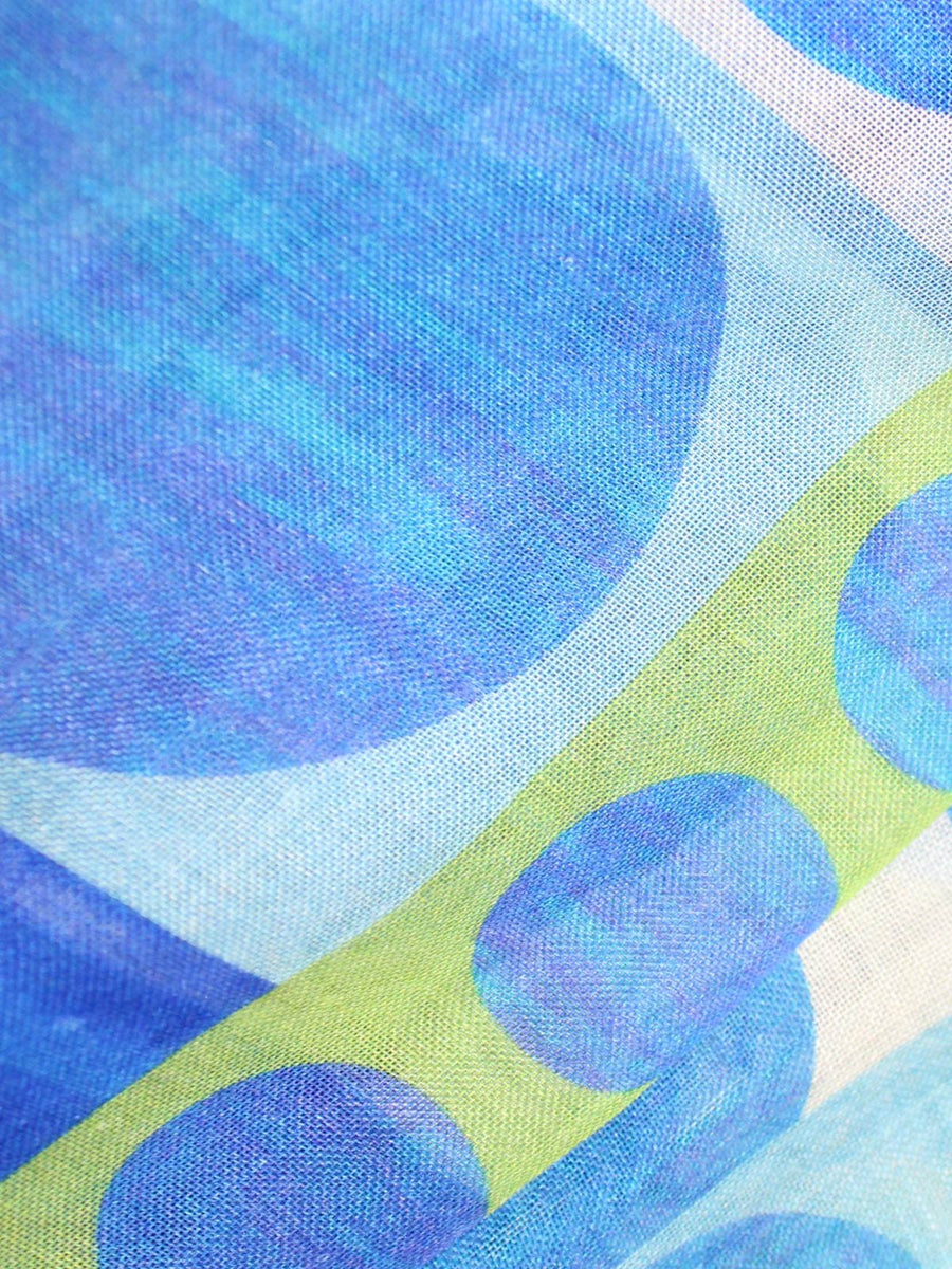 Kiton Silk Scarf Royal Blue Green Geometric Design