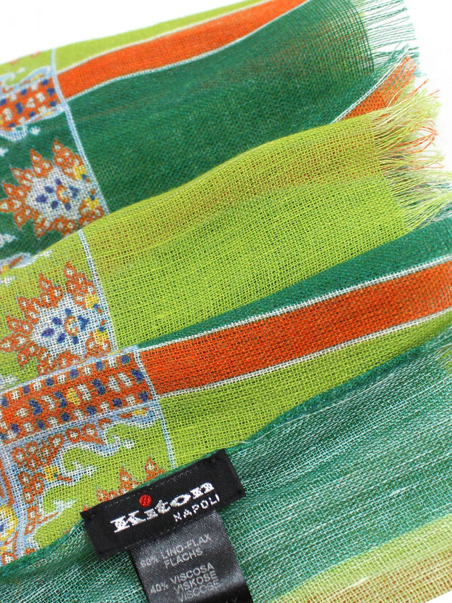 Kiton Linen Scarf Lime Green Orange Floral Design - Spring/ Summer SALE
