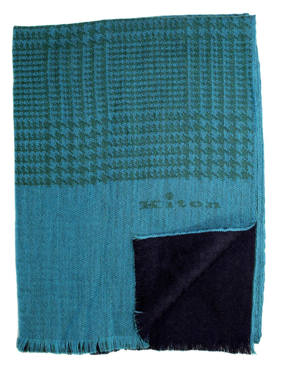 Kiton Scarf Teal Green Houndstooth Cashmere Wool Silk SALE