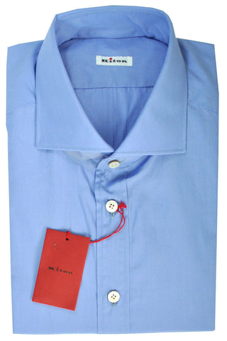 Kiton Men Dress Shirt Blue 45 - 18