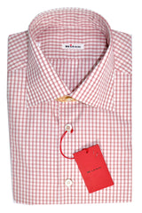 Kiton Dress Shirt White Red-Pink