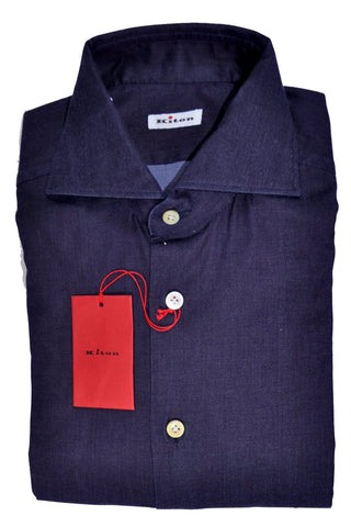 Kiton Shirt Midnight Purple Solid 39 - 15 1/2 Slim Fit SALE