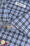 Kiton Shirt Gray Blue Check Dress Shirts Men