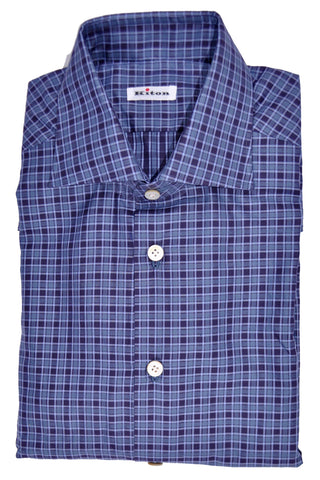 Kiton Shirt Midnight Purple Check 38 - 15 SALE