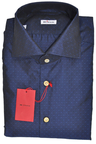 Kiton Dress Shirt Navy Royal Blue Geometric 42 - 16 1/2