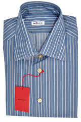 Kiton Dress Shirt Midnight Blue Gray Stripes Cashmere Silk