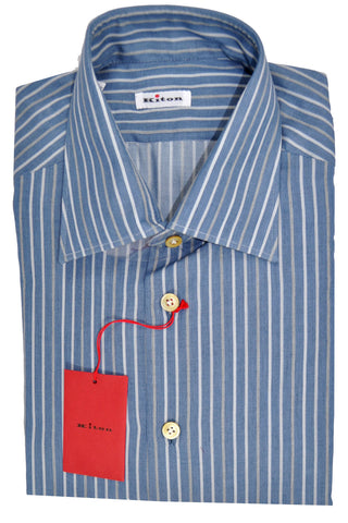 Kiton Dress Shirt Midnight Blue Gray Stripes Cashmere Cotton 43 - 17