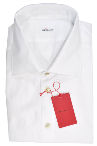 Kiton Dress Shirt White Solid 46 - 18 1/2