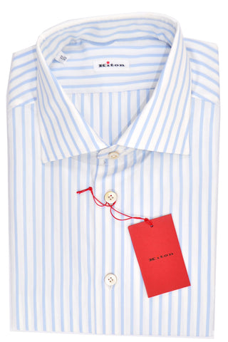 Kiton Dress Shirt White Sky Blue Stripes 43 - 17