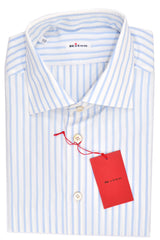 Kiton Dress Shirt White Sky Blue Stripes
