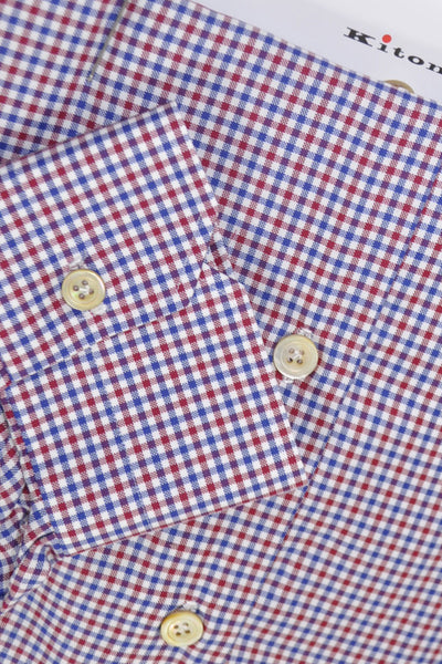 Kiton Dress Shirt White Burgundy Navy Check